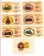 SET OF 7 LABEL ISSUED ON CENTENARY CELEBRATION OF SOUTH EASTERN RAILWAY [ BENGAL NAGPUR RAILWAY ] ON 1987 - Railway
