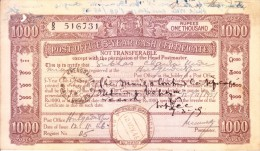 BRITISH INDIA 1946 POST OFFICE 5 YEAR CASH CERTIFICATE OF RS. 1000 BOOKED FROM RAJSHAHI - ENCASHED ON 1949 FROM CALCUTTA - Cheques & Traveler's Cheques