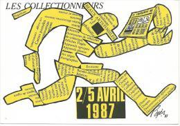 Raymond Pagès: Les Collectionneurs, Carte Salon 2/7 Avril 1987, Tirage 60 /100, Sigature Artiste Au Dos Au Dos - Pages