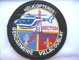 RARE INSIGNE TISSUS PATCH GENDARMERIE NATIONALE HELICOPTERES LA SAG DE VILLACOUBLAY (VELCRO)