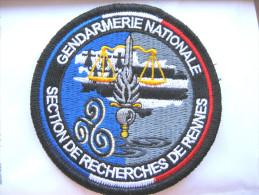 INSIGNE TISSUS PATCH GENDARMERIE NATIONALE LA SECTION DE RECHERCHE DE RENNES (VELCRO)