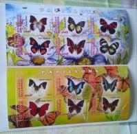 REPUBLICA DEL CONGO-mariposas,2 Hojas Bloque Nuevas Serie Completa Del 2013 - Butterflies