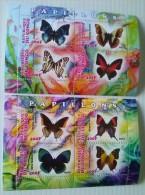 REPUBLICA DEL CONGO-mariposas,2 Hojas Bloque Nuevas Serie Completa Del 2013,8 Sellos - Butterflies