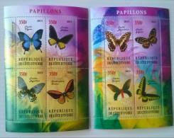 REPUBLICA DE COSTA DE MARFIL-mariposas,2 Hojas Bloque Nuevas Serie Completa Del 2013,8 Sellos - Butterflies