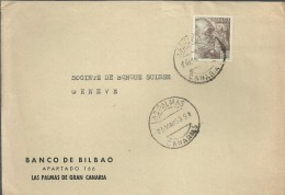 LAS PALMAS CANARIAS FRONTAL CON MAT LISTA 1953 SELLOSLA CIERVALAS PALMAS CANARIAS FRONTAL CON SELLO FRANCO DE PERFIL 2 P - 1931-Today: 2nd Rep - ... Juan Carlos I