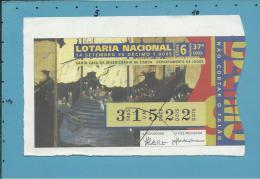 LOTARIA NACIONAL - 37.ª ORD. - 14.09.1995 - ARTE NAMBAN - Portugal - 2 Scans E Description - Billets De Loterie