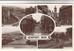 1940s Postcard NEWPORT MONMOUTHSHIRE High Street , Bridge , Commercial Street , Panty Rheos Alltyrn, Belle Vue Park , Gb - Monmouthshire