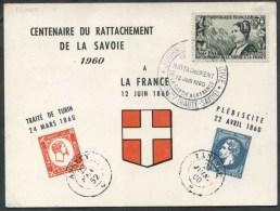 1960 Francia, Centenaire Du Rattachement De La Savoie Cartolina Manifestazione - Errors & Oddities