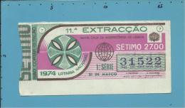 LOTARIA NACIONAL - 11.ª ORD. - 21.03.1974 - Portugal - 2 Scans E Description - Lottery Tickets