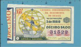 LOTARIA COM. DESCOBERTA DO BRASIL - 16.ª ORD. - 03.05.1974 - Portugal - 2 Scans E Description - Lottery Tickets