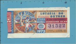 LOTARIA Do OUTONO - 37.ª ESP. - 04.10.1973 - O CAIR DA FOLHA - Portugal - 2 Scans E Description - Lottery Tickets