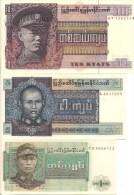 Burma P56-58, 3 Note 1-10 Kyat Set, 1965-73 - Myanmar