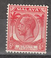 STRAITS SETTLEMENTS 1936  KGVI  6 C    MH - Straits Settlements