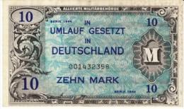 Germany #194b 10 Mark 1944 Banknote Currency Allied Occupation - [ 5] Ocupación De Los Aliados