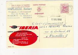 Publibel Obl. N° 2194 (IBERIA  Lignes Aériennes D'Espagne)  Obl: Mouscron 1968 - Entiers Postaux
