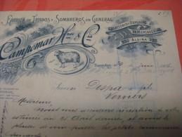 1906 Argentine BUENOS AIRES CAMPOMAR - Fabrica De Tejudos & Sombreros Faktuur Aan DESPA Verviers - Italie