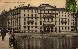 CPA ANIMEE  GENEVE - HOTEL DES BERGUES - CPA UTILISER SEULEMENT DANS LE SERVICE INTERIEUR,ALLEMAGNE,FRANCE,ITALIE - GE Ginevra