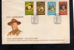 ZIMBABWE 1982 21 JULY PTC SCOUTISM SCOUT SCOUTING FOUNDER LORD BADEN-POWELL OF GILWELL FDC FISRT DAY COVER - Zimbabwe (1980-...)