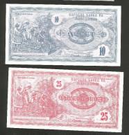 MACEDONIA - NATIONAL BANK - 10 / 25 DENARI (1992) - LOT Of 2 DIFFERRENT BANKNOTES - Macedonia