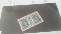 LOT 217121 TIMBRE DE FRANCE NEUF* N�274 VALEUR 50 EUROS