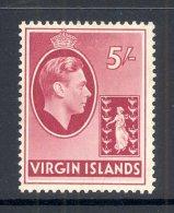 VIRGIN ISLANDS, 1938 5 Shilling On Chalky Paper Very Fine Light MM, Cat £70 - Britse Maagdeneilanden
