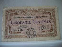 70 GRAY VESOUL - CHAMBRE DE COMMERCE - CINQUANTE CENTIMES 23 DECEMBRE 1921 SERIE 115 - TTB - Cámara De Comercio