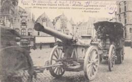 Furnes - Le Nouveau Canon De 120 Long Avec Tracteur Automobile Traversant La Grande Place , Cachet - Ausrüstung