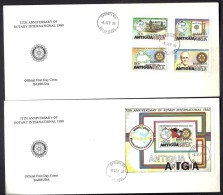 LOT 4 LETTRES ROTARY INTERNATIONAL- ANTIGUI + ANGUILLA- DIVERS DISTRICTS- CAD DE 1980 - 2 SCANS - Rotary, Lions Club