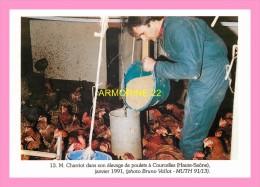 CPM COURCELLES , Mr  Charriot Dans Son élevage De Poulets , Janvier 1991 - Otros Municipios