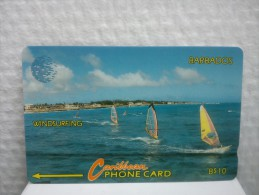 Phonecard Barbados Windsurfing Number 14CBDD Used Not Perfect Condition See Scan - Barbades