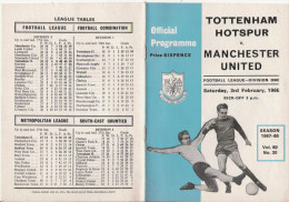 PROGRAMME MATCH TOTTENHAM HOTSPUR V MANCHESTER UNITED   1968 - Livres