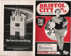 PROGRAMME MATCH BRISTOL CITY FC   V  PRESTON NORTH END  1972 .73 (SECOND DIVISION) - Livres