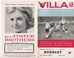 PROGRAMME MATCH ASTON VILLA  V   BURNLEY    1966 - Books