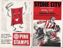 PROGRAMME MATCH STOCKE CITY   V  MANCHESTER UNITED   1968 - Livres