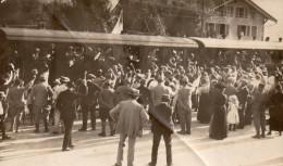 Photo Originale, Train En Partance Pour Le Front , Mouchoirs Blancs Aux Fenêtres; Drapeau  (43.03) - Guerre, Militaire