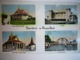 CPA Indochine Cambodge - Pnom-Penh - Souvenir De Phnom Penh - 4 Vues Colorisées 1950 - Cambodge