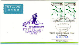Kuwait Geneve 1976 - par Swissair - 1er vol erstflug inaugural flight - Suisse Koweit