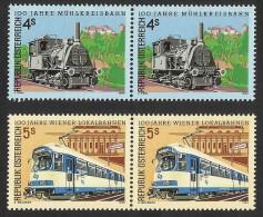 """Österreich 1988  Satz  """"100 Jahre Lokalbahnen""""  2er-Streifen  4 U. 5,- ÖS   ANK Nr. 1947/1948 **/ Feinst Postfrisch - 1945-.... 2nd Republic"""