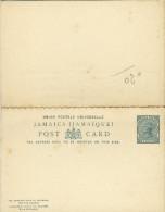 Entier Postal  Avec Réponse Payée Penny Half Penny Vert Victoria Beau Mais Petites Traces - Jamaïque (...-1961)