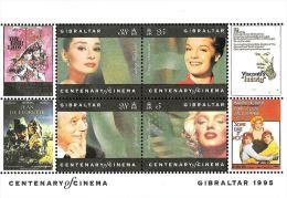 [DC0094] CARTOLINEA - MOLTO RARA - 2° FOGLIETTO FRANCOBOLLI GIBILTERRA - CENTENARIO DEL CINEMA - Briefmarken (Abbildungen)