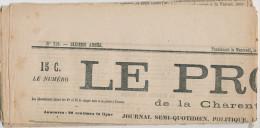 794/22 - Journal Complet Le Progrès De La Charente 1875 - TP 52 Cérès 4 Centimes Oblitéré Typo - Cérès Cote 900 EUR - Newspapers