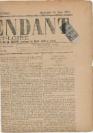795/22 - Journal Complet L' Indépendant De Saone Et Loire 1891 - Paire TP Sage 1 C Oblitérés Typo - Cérès Cote 125 EUR - Newspapers