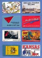 8 Stück Verschiedene TWK, Gebraucht - Telefonkarten