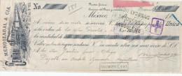 798/22 - ALLUMETTES - MEXICO 2 Traites 1911 / 1913 Fabrica De Fosforos MENDIZABAL - Illustrations TRAINS - Timbres