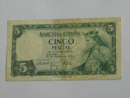 ESPAGNE. 5  Cinco Pesetas  - 1954  Banco De Espana **** EN ACHAT IMMEDIAT **** - [ 3] 1936-1975 : Régence De Franco