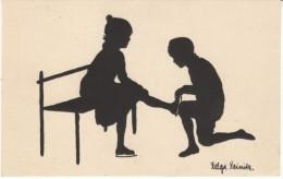 Helga Reinitz Artist Signed Silhouette, Boy And Girl Ice Skate, C1920s/30s(?) Vintage Postcard - Silhouette - Scissor-type