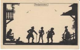 Silhouette Elsbeth Forck Artist Signed Switzerland Village Scene, Police(?), C1920s Vintage Postcard - Silhouette - Scissor-type