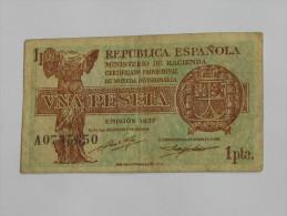 ESPAGNE. 1 Una  Peset.a - Certficado Provisional   - 1937  Républica Espanola  **** EN ACHAT IMMEDIAT **** - [ 3] 1936-1975 : Regency Of Franco