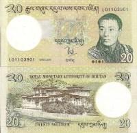 Bhutan P30, 20 Ngultrum, Palace / King Wangchuk, $4CV - Bhutan