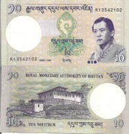 Bhutan P29, 10 Ngultrum, Jigme Singye Wangchuk / Paro Dzong Palace, 2008 - Bhutan